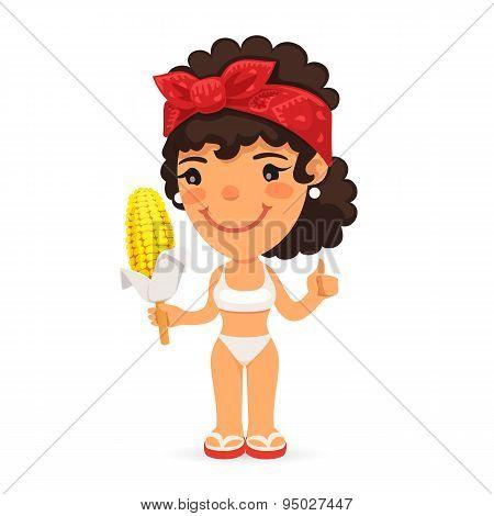 Woman in Swimwear with Boiled Corn