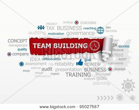 Team Building Graph Concept Word Cloud.