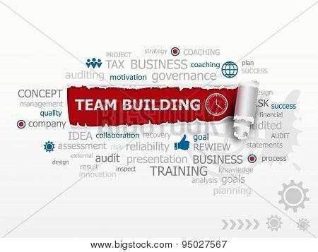 Team Building Graph Concept Word Cloud.