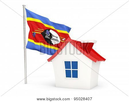 House With Flag Of Swaziland