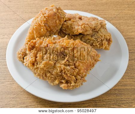 Delicious Deep Fried Chicken On A White Dish