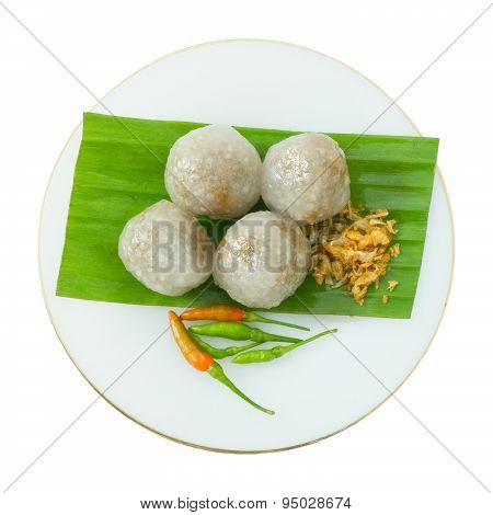 Tapioca Balls With Minced Pork On White Bakground