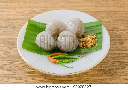 Thai Dessert Of Tapioca Balls Filled With Minced Pork