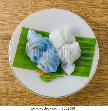 Thai Dessert Of Steamed Rice Skin Dumpling