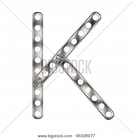 Letter K made from metal constructor. Isolated 3d.