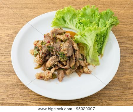 Spicy Grilled Beef Salad On A White Plate