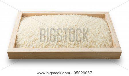Tray Of Thai Jasmine Rice On White Background