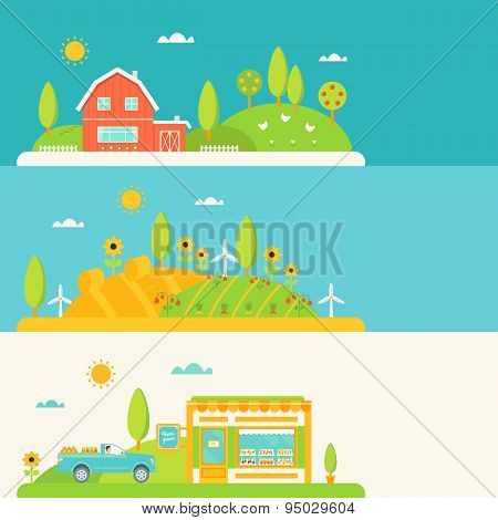 Agriculture and Farming Elements Horizontal Banners Set
