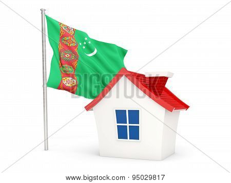 House With Flag Of Turkmenistan