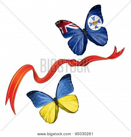 Two butterflies with symbols of Ukraine and Queensland