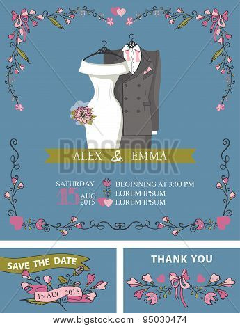 Wedding invitation with wedding dress,floral decor