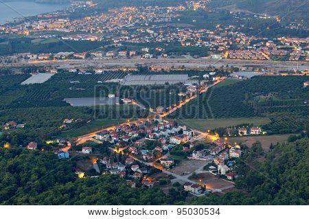 Aerial View On  Small Town Resort  Kiris And Camyuva, Night