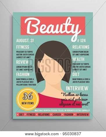 Magazine cover template about beauty, fashion and health for women. Vector illustration.