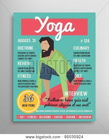 Magazine cover template. Yoga blogging layer, health sport vector illustration.
