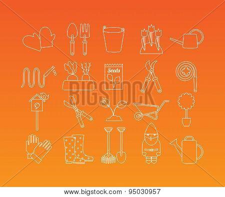 Gardening vector icons set