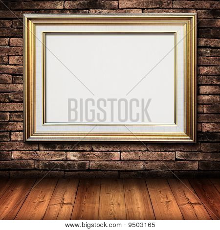 Gold Frame On Brick Wall