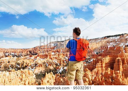 Man standing with Bryce Canyon National Park view