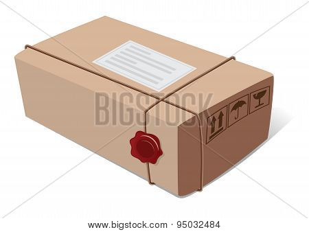 Box post package with a wax seal and icons