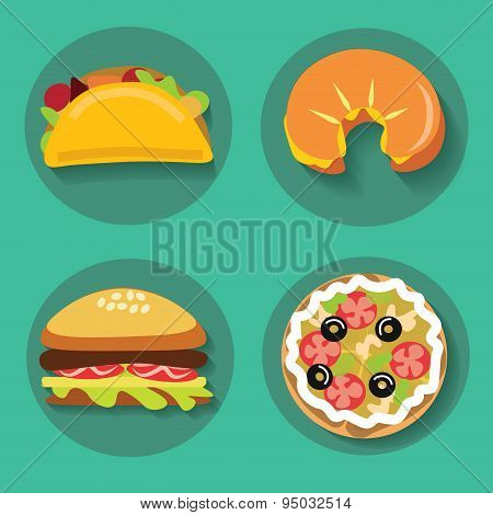 Set of icons fast food pizza croissant burger burrito on a background