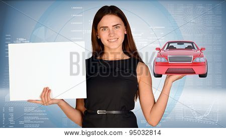 Businesswoman holding car