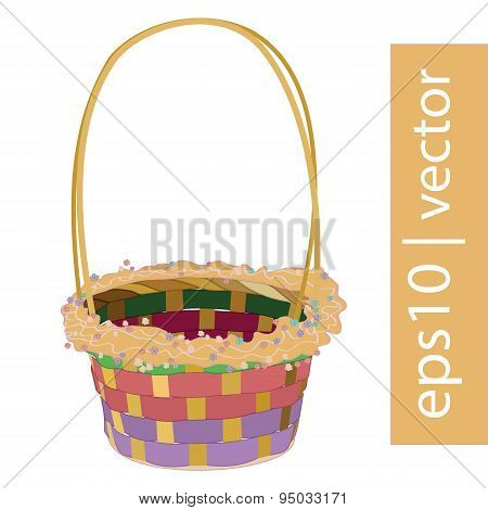 Color vector Easter wicker basket handmade