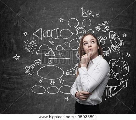 Young Beautiful Business Woman Is Thinking About Optimisation  Process. Chalk Icons A
