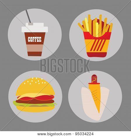 Set of icons fast food coffee potato hamburger hot dog on a background