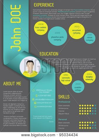 Modern Curriculum Vitae Resume Template With Ribbon