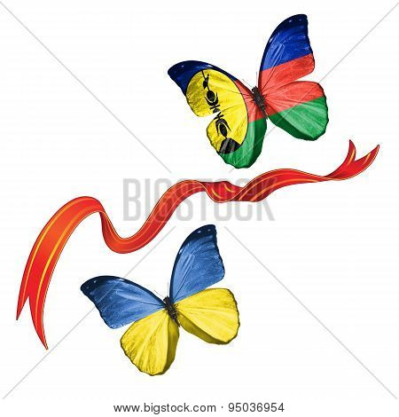 Two butterflies with symbols of Ukraine and New Caledonia