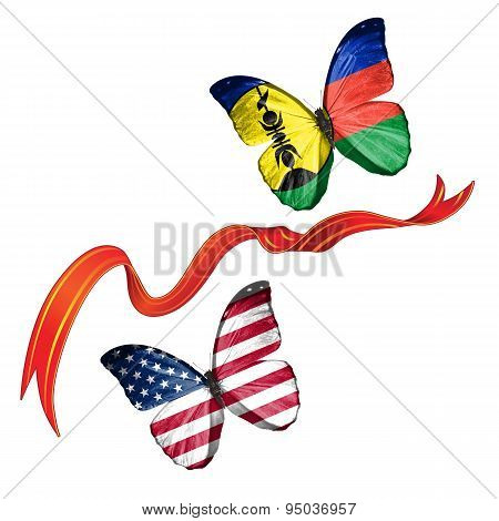 Two butterflies with symbols of USA and New Caledonia