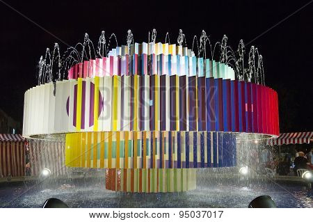 Colorful Fountain At Dizengoff Square In Tel Aviv .