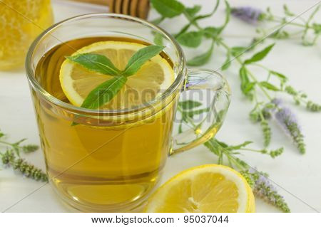 Cold Mint Tea With Lemon On A Table With Mint Plant, Honey,dipper And Dessert
