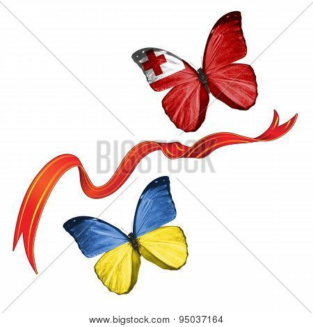 Two butterflies with symbols of Ukraine and Tonga
