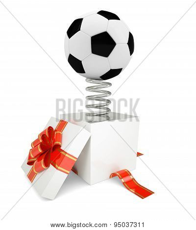 Gift box with red band and soccer ball