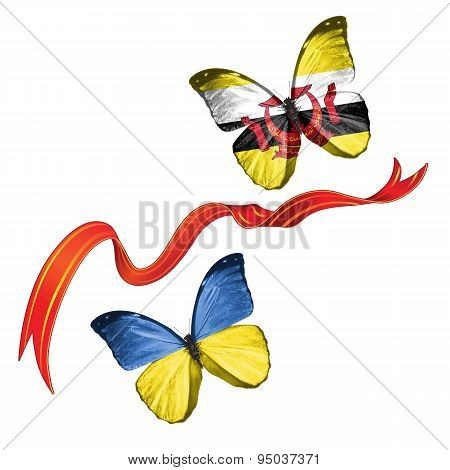 Two butterflies with symbols of Ukraine and Brunei