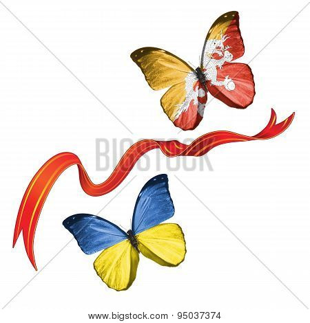Two butterflies with symbols of Ukraine and Bhutan