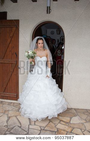 Lovely Bride Outside Close To Her House