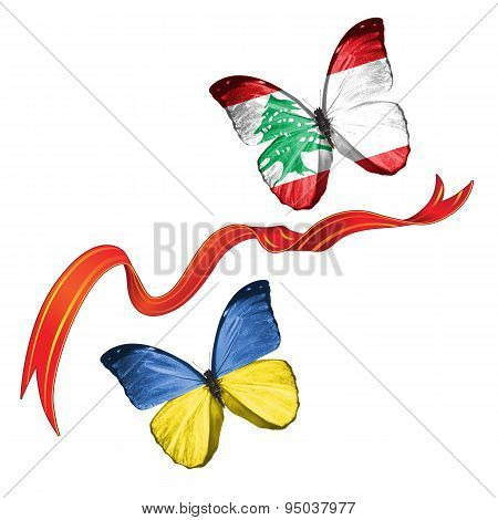 Two butterflies with symbols of Ukraine and Lebanon