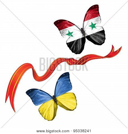 Two butterflies with symbols of Ukraine and Syria