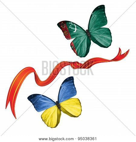 Two butterflies with symbols of Ukraine and Turkmenistan
