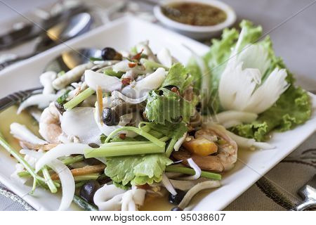 Spicy Salad, Spicy Vermicelli Salad , Thai Salad Famous Appetizer.