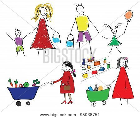 Childrens drawings with the family and the child with food in supermarket