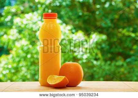 Orange and juice on the table