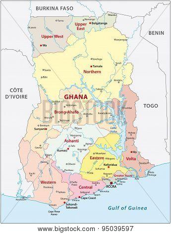 Ghana Administrative Map