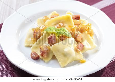 Portion Of Ravioli With Onion And Bacon