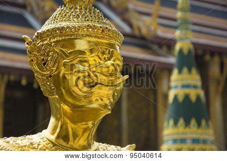 Statue In Wat Phra Kaew Temple, Bangkok, Thailand