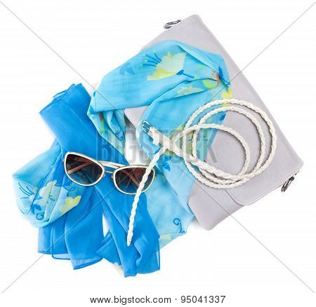 Handbag,  Light Silk Scarf, Skinny Braided Belt And Sunglasses