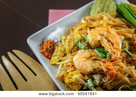 Thai Fried Noodles With Fresh Shrimp In Closeup