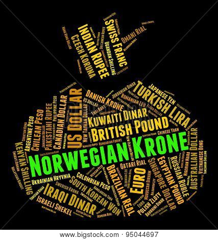 Norwegian Krone Shows Worldwide Trading And Foreign