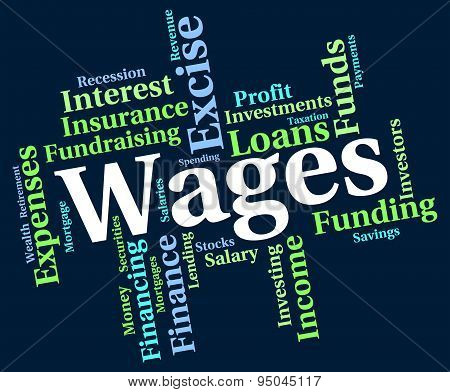 Wages Word Indicates Income Earn And Wordcloud
